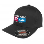 Pelagic Deluxe Logo Flexfit Fishing Hat - L/XL - Black - 1201181007