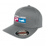 Pelagic Deluxe Logo Flexfit Fishing Hat - L/XL - Grey 1201181007