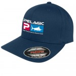 Pelagic Deluxe Logo Flexfit Fishing Hat - L/XL - Navy Blue 12011811007
