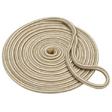 Buccaneer Braided Dock Line with Eye Splice - Gold/White - 3/8 Inch
