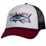 Salt Life Hook and Spear Men's Mesh Hat - Burgundy